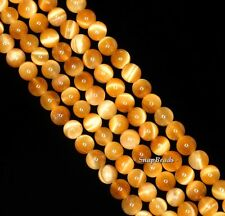 4MM GOLDEN TIGER EYE GEMSTONE AAA YELLOW ROUND 4MM LOOSE BEADS 15.5""