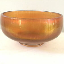 AMBER CARNIVAL GLASS ROUND SERVING BOWL IRIDESCENT CANDY DISH VINTAGE MARIGOLD