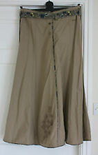 New Size 12 Fat Face Khaki Parlour Skirt ALine contrast belt& trim button front