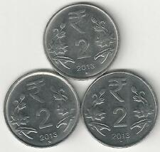 3 DIFFERENT 2 RUPEE COINS from INDIA (ALL DATING 2013/MINT MARKS of B, H & N)