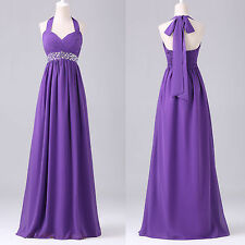 Purple Long Maxi Evening Formal Party Dresses Bridesmaid Prom Wedding Ball Gown