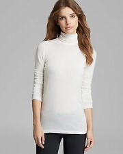 NEW VINCE Favorite Soft Jersey Stretch Layering Turtleneck Top Shirt white S
