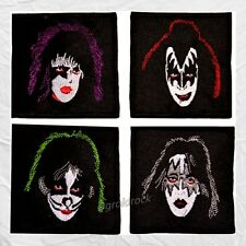 Set Kiss Embroidered Patches Faces Gene Simmons Stanley Ace Frehley Peter Criss