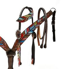 Showman Leather Bridle & Breast Collar Set w/ Painted Feathers!! NEW HORSE TACK!