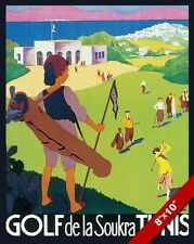 VINTAGE TUNISIA GOLF COURSE VACATION TRAVEL AD POSTER ART REAL CANVAS PRINT