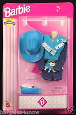 Barbie Easy Dress Western Fashions Blue Cowboy Hat Boots NRFB