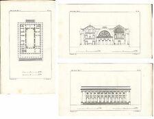 Stampa antica SERIE DI 3 ARCHITETTURA OFFERTA! BRONGNIART 1808 Old antique print
