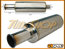 "ASPEC ITB 2.5"" BURN TIP 2.5"" INLET SPOON STYLE STAINLESS UNIVERSAL MUFFLER JDM"