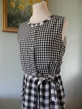 PAUL SMITH - Black White GINGHAM Lyocell Cotton Lined DRESS - UK 12