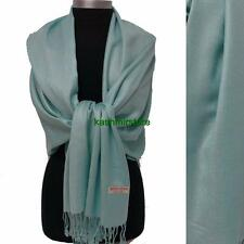 NEW Women Solid 100%Pashmina Wrap Stole Cashmere Wool Shawl/Scarf Sky Blue-1