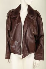 Vintage Brown Gianni Versace Leather Asymmetrical Bomber Jacket w Shearling