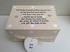 Shabby Personalised Chic Special Auntie Aunt Aunty Gift Trinket Jewellery Box