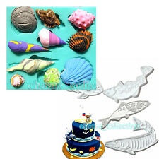 Ocean Theme Shell Conch Fish Shape Fondant Cake Silicone Mold DIY Cutter Mould