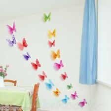 18 mariposas coloridas 3D Pared Arte Calcomanía Pegatinas Decoración Decoración Fiesta Casa