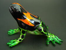 Glass FROG, Colourfully Painted Shiny Coloured Glass Figure,Ornament,Animal Gift