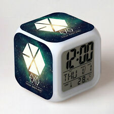 Korean Star EXO Alarm Clock Change Colors LED Bed Room Alarm Clocks