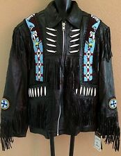 NEW Dream Apparel Black Indian Beaded Fringe Men's Leather Jacket Size Medium M