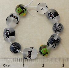Halloween Beads Hand Painted Glass Spider Web Bat Cat Clear Frosted Goth Beads