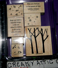 STAMPIN UP TREES THREE 7 RUBBER STAMPS BRANCH OUT SNOW LAEVES KEEP YOUR FAITH