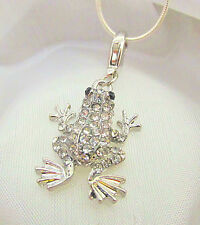 Sterling Silver Clear Crystal Frog Pendant Necklace Bracelet w Snake Chain
