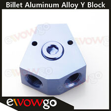 """3/8'' In 3/8'' Out Female Y-Block Fitting With 1/8"""" NPT Gauge Port Blue"""