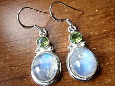 Faceted Peridot and Rainbow Moonstone Earrings 925 Sterling Silver Dangle Drop