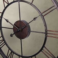 Extra Large Metal Wrought Iron Wall Clock Roman Numeral Steampunk Home Deco