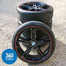 "NEW GENUINE BMW 3 4 SERIES 20"" M SPORT 361 BLACK RED STRIPE ALLOY WHEELS TYRES"