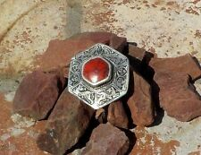 AFGHAN CORAL & SILVER RING TRIBAL BELLY DANCE GYPSY BOHO COSTUME FREE SHIPPING