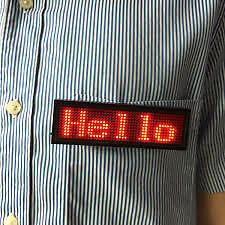 LED Programmable Scrolling Name Message Badge Tag Digital Display in English