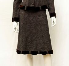Nanette Lepore Tweed Wool Brown Gray Velvet  Skirt Sz 8