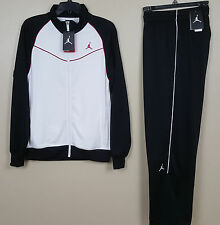 NIKE JORDAN DRI-FIT WARM UP SUIT JACKET + PANTS BLACK WHITE RED NWT (SIZE MD LG)