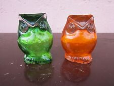 Vintage Blenko Blown glass orange and green owl figurine for sale!!!
