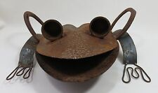 "Scrap Metal Yard Art FROG 13"" x 12"" x 5""  Statue Lawn Ornament Handcrafted"