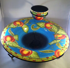 Large Bowl Platter Laurie Gates Gates Ware with Rack EXQUISITE Peas Tomatoes