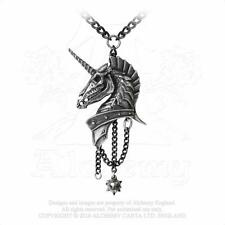 Alchemy Gothic Pewter Geistalon Heraldic Skeletal Unicorn Pendant Necklace P751