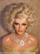 Drag Queen Wig Light Blonde to Lighter Tips in Mid Lenght Layers Blonde Bangs