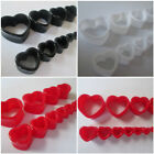 3MM-25MM EAR TUNNEL HEART SHAPED PLUG STRETCHER SADDLE ACRYLIC RED BLACK WHITE