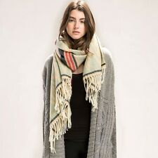 Anthropologie Tan, Yellow, Green SOUTHWESTERN Fringe LONG BLANKET Scarf NEW