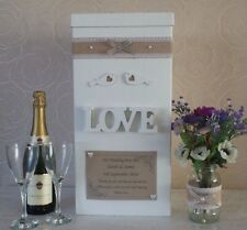 WEDDING CARD POST BOX PERSONALISED WOOD LOVE & LOVEBIRDS SHABBY HESSIAN VINTAGE