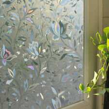 45x100cm Privacy Frosted Glass Window Door Flower Sticker Film Bathroom Decor