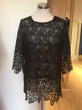 Oui Top Size 14 BNWT Black Lace 3/4 Sleeve RRP £99 Now £39