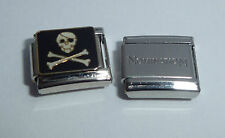 JOLLY ROGER 9mm Italian Charm + 1x Genuine Nomination Classic Link PIRATE FLAG