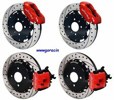 "WILWOOD DISC BRAKE KIT,1990-1995 HONDA CIVIC 12"" DRILLED ROTORS,RED CALIPERS"
