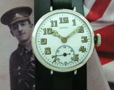Original Men's WWI Era Sterling Silver Patria Presentation Trench Watch-SERVICED