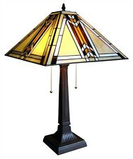 "CH1B902AM15-TL2 Mission Tiffany Style Stained Glass 2-Light Table Lamp 15"" Shade"
