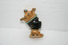 Askew London Blackamoor Gold Enamel Brooch Pin King Crown Multi AB Rhinestone