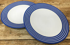 Denby Intro Blue Stripe Cobalt Royal 2 Salad Plates White Bands Langley England