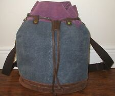 LUCKY BRAND Large Denim Suede Drawstring Duffle Bucket Backpack