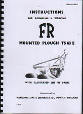 "Ransomes ""TS 63 E"" Mounted Plough Instruction and Parts Book"